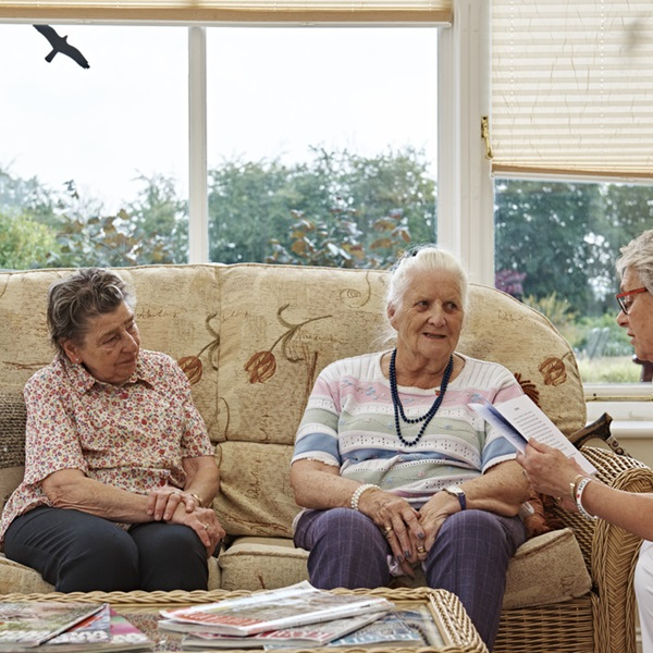 Ladies chatting at a Royal British Legion care home