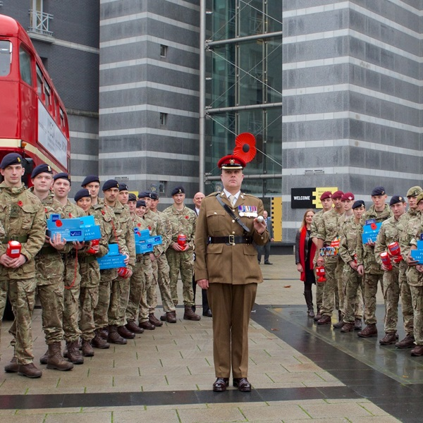 Leeds Poppy day collectors and bus