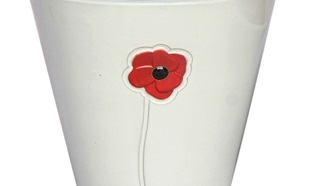 Apta partnership – white plant pot with red poppy design