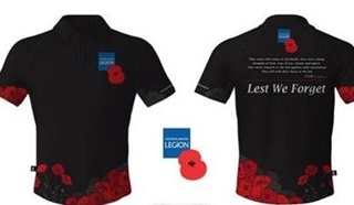 Black t-shirts with poppies for our Knight Sportswear partnership