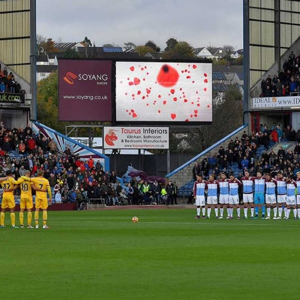 Burnley players paying tribute on Armistice Day