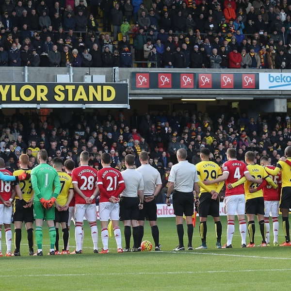 Watford and Manchester United take part in a minute's silence in memory of the victims of the Paris terrorist attacks