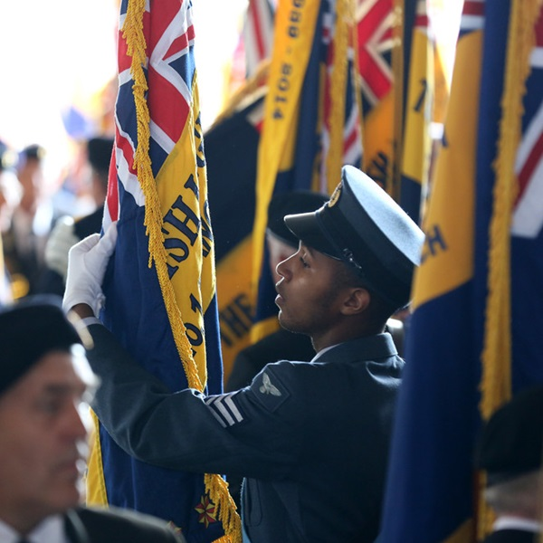 A Standard Bearer preparing for a Remembrance parade