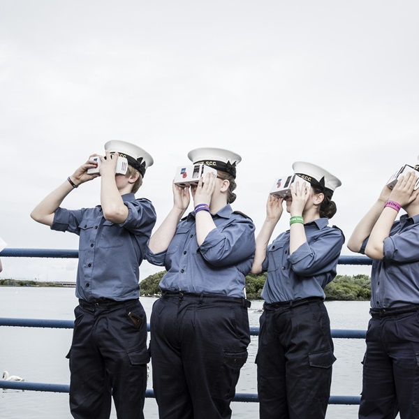 Sea cadets at the Royal British Legion's Annual Conference look through British Legion Virtual Reality glasses