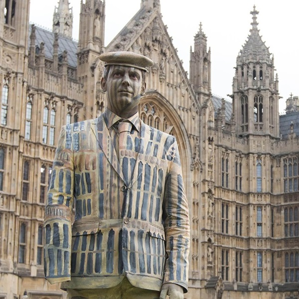 Veteran Darren Fuller painted at the Houses of Parliament to show how the Armed Forces community is currently invisible on the UK Census
