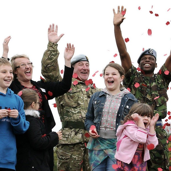 Members of the Armed Forces community celebrating