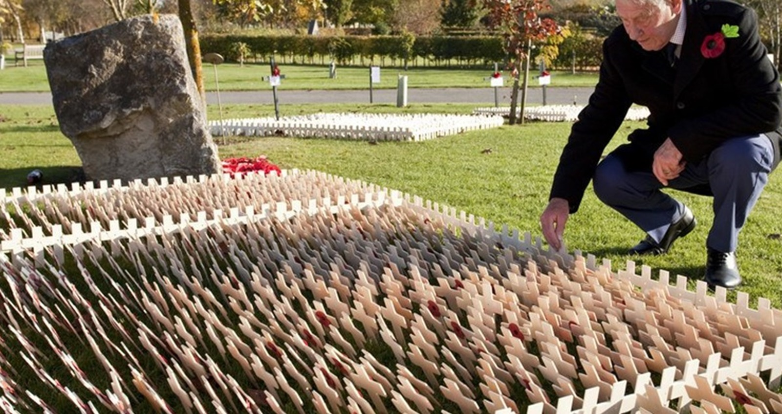 Man leaning over Fields of Remembrance