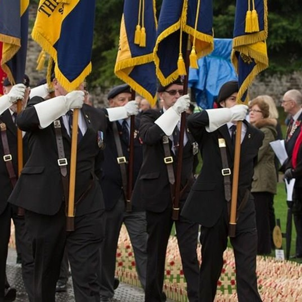 Flag bearers in Gateshead Field of Remembrance