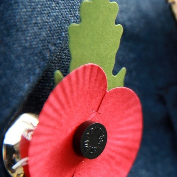 Paper poppy (with leaf) lapel pin