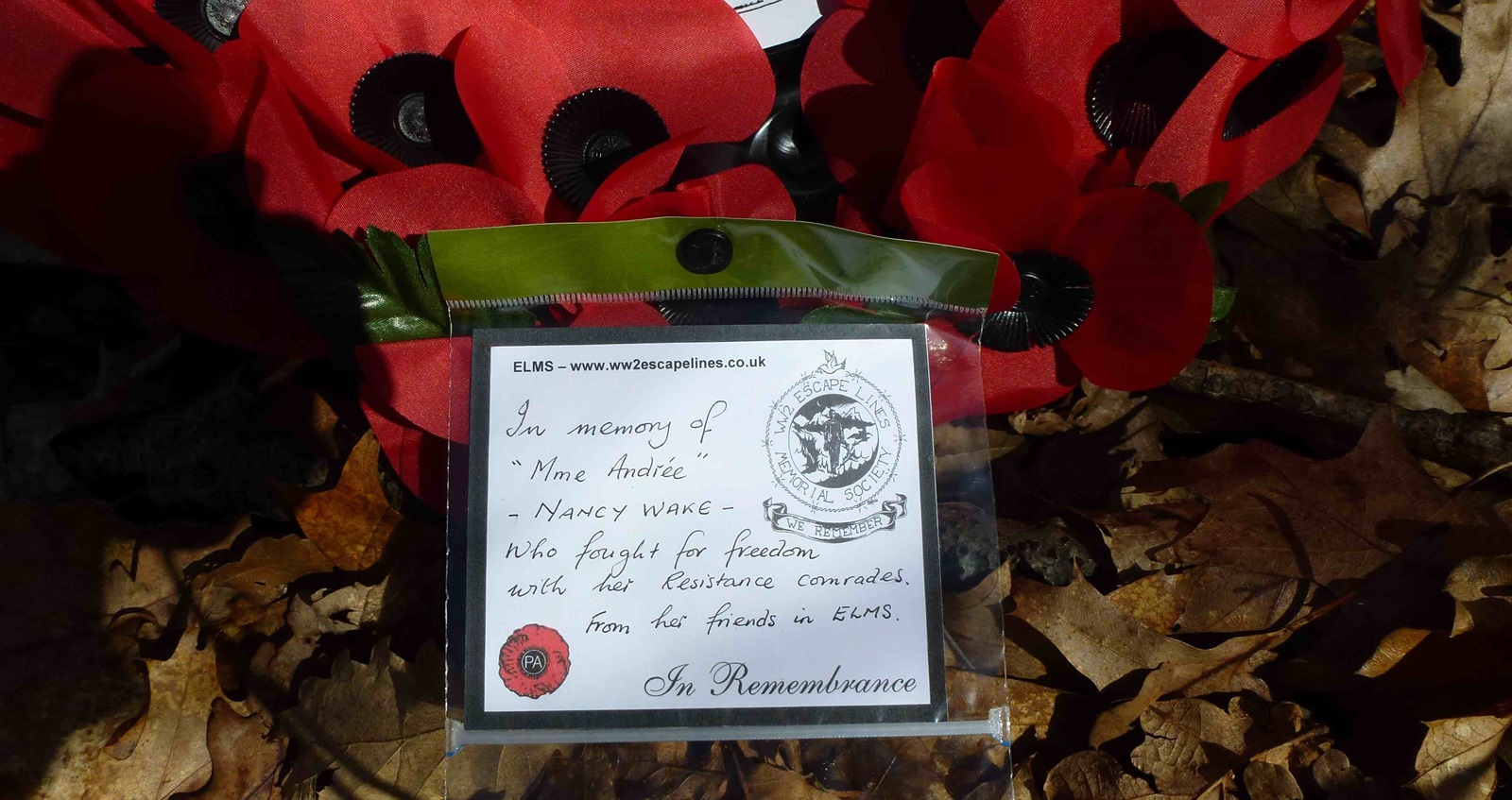 """Verneix ceremony – paper poppies with note: """"In memory of 'Mme Andre"""""""