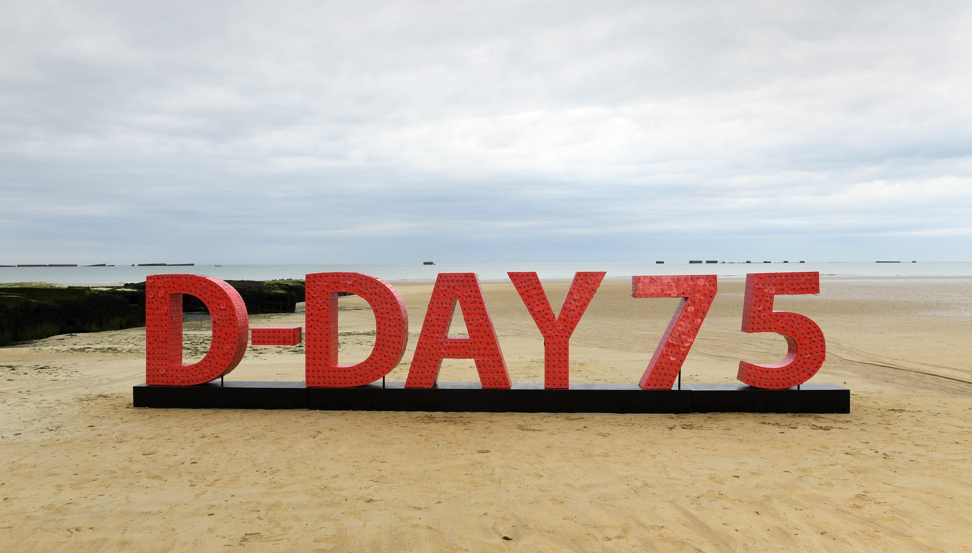 D-Day 75 beach installation made up of 20,000 poppies with messages of support.