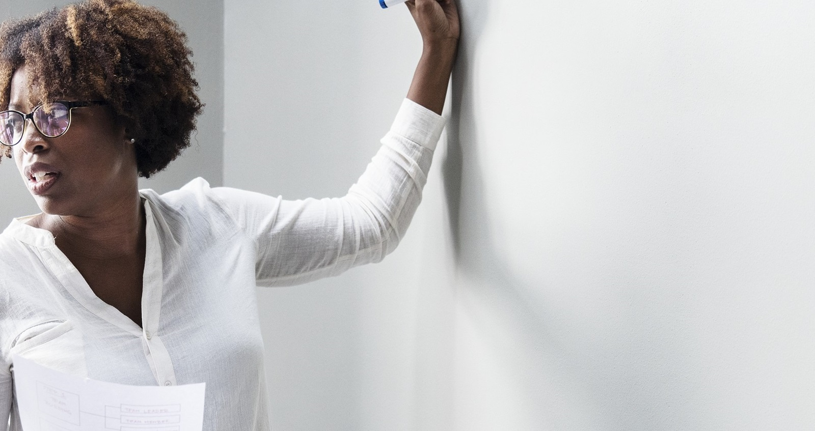 Remembrance Travel support for teachers – woman standing at a white board about to write.