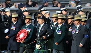 Gurkhas march past the Cenotaph for Remembrance