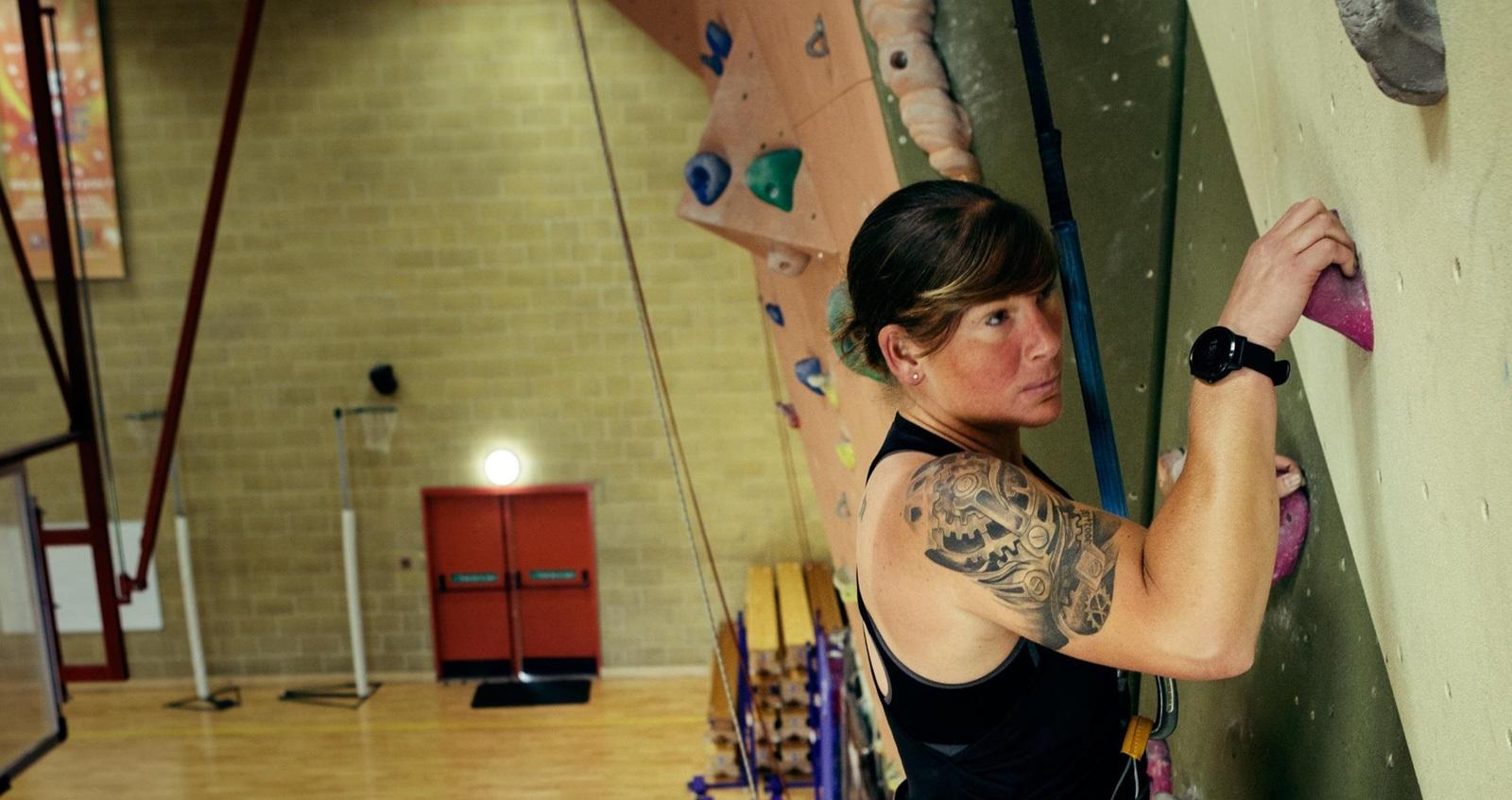 Abby Winchester climbing
