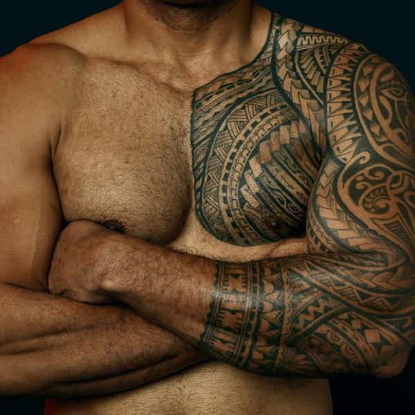 Peni Qio chest tattoo