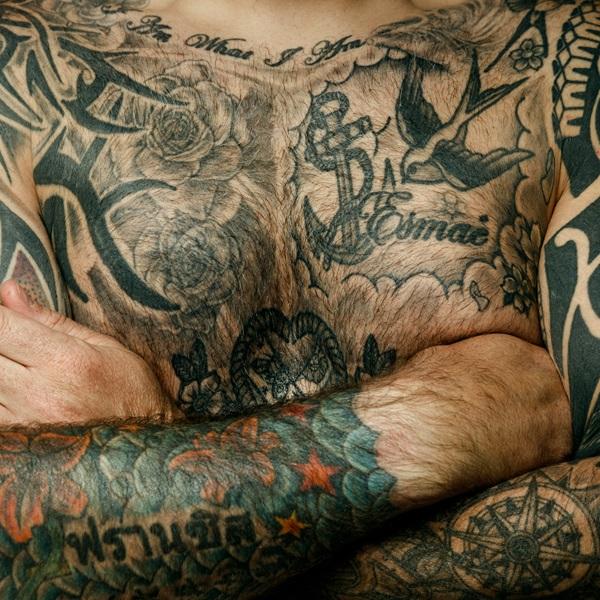 Chris Warner chest tattoo