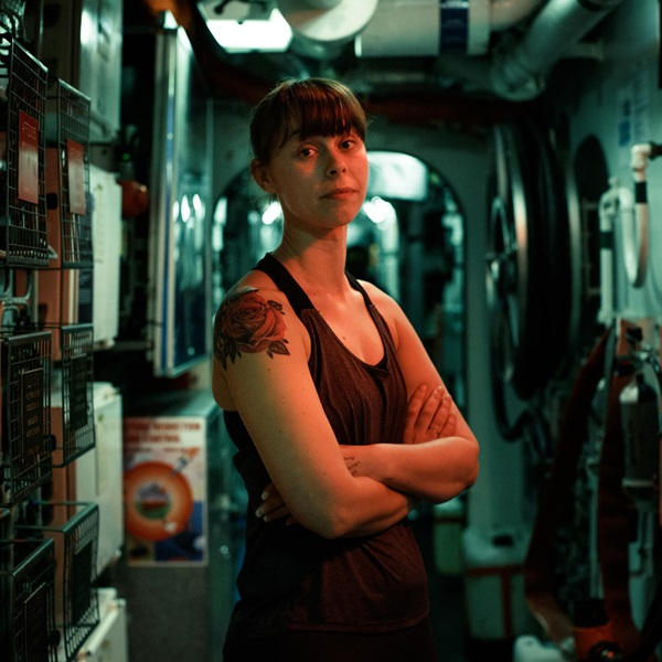 Dani Cummings on board HMS St Albans