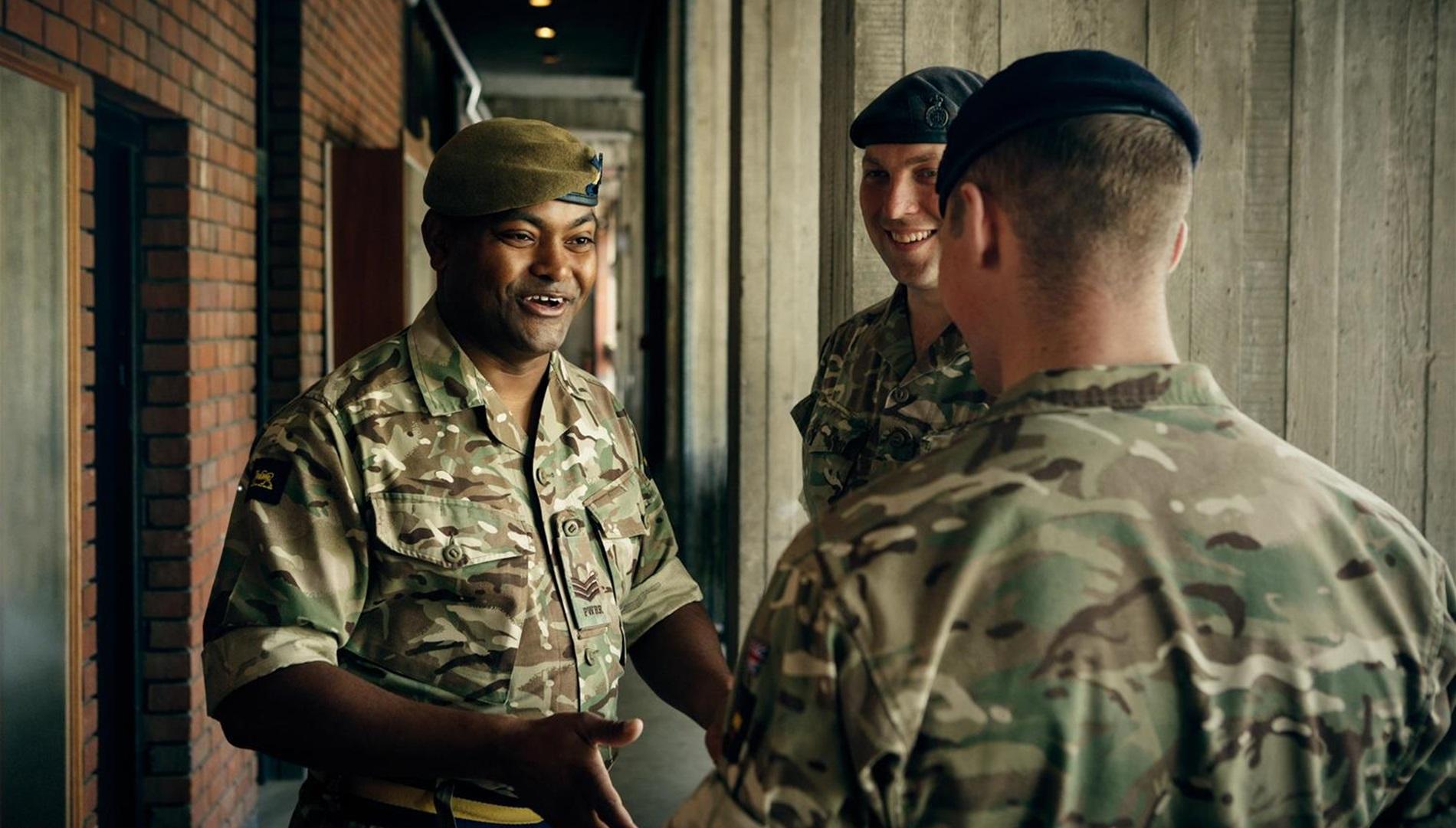 Johnson Beharry meeting fellow Army personnel