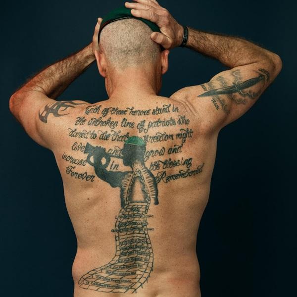 Matt Tomlinson back tattoo close up