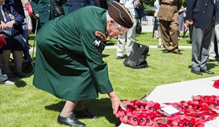 Remembrance wreaths being layed