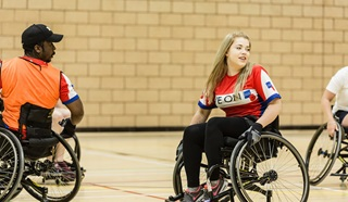 A game of wheelchair basketball at Battle Back Centre