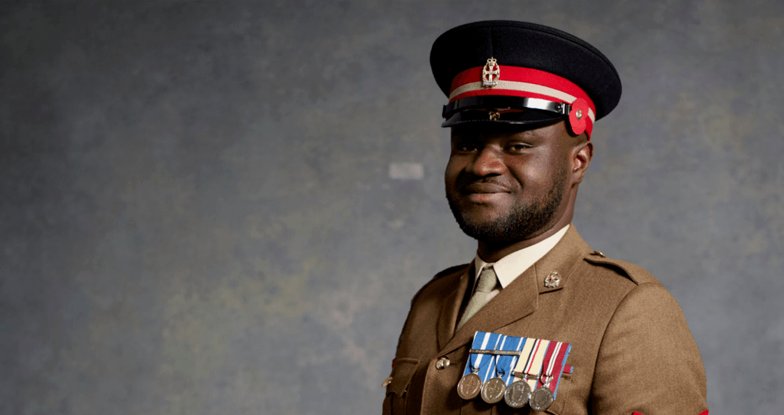 Studio portrait of army nurse Ben Poku