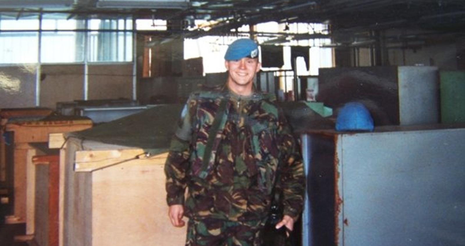 Matt standing in his uniform in Bosnia.