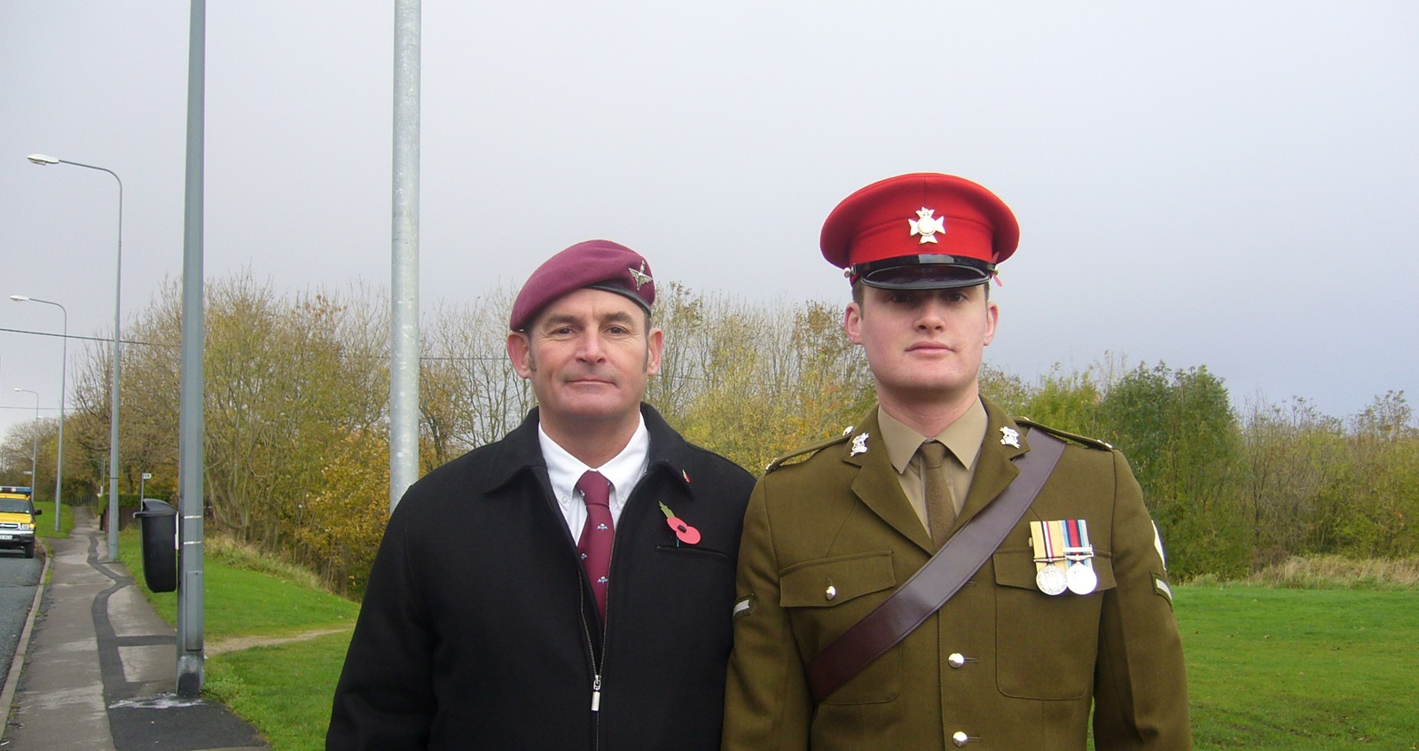 Liam and his father at Remembrance Sunday in Seaham Harbour