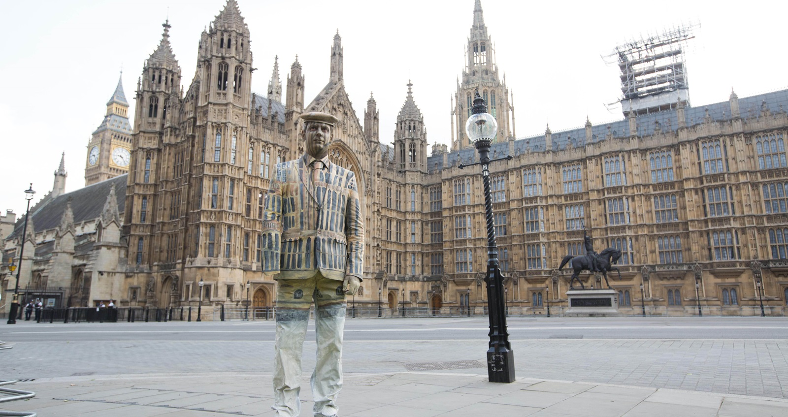 Veteran Darren Fuller painted outside the Houses of Parliament
