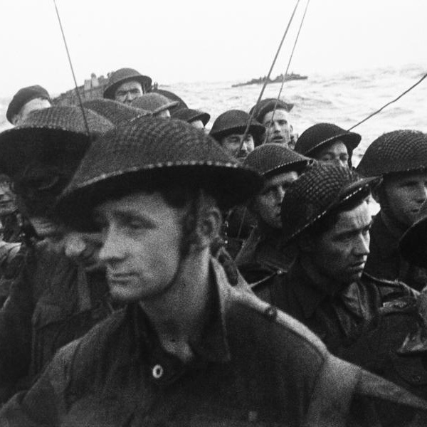 Film still from the D-Day landings showing commandos aboard a landing craft on their approach to Sword Beach, 6 June 1944.