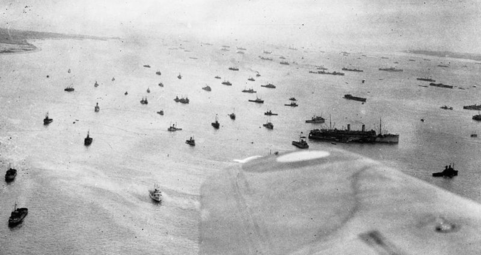 Aerial photograph of ships of the Royal Navy massing off the Isle of Wight before setting off for the Normandy beaches.