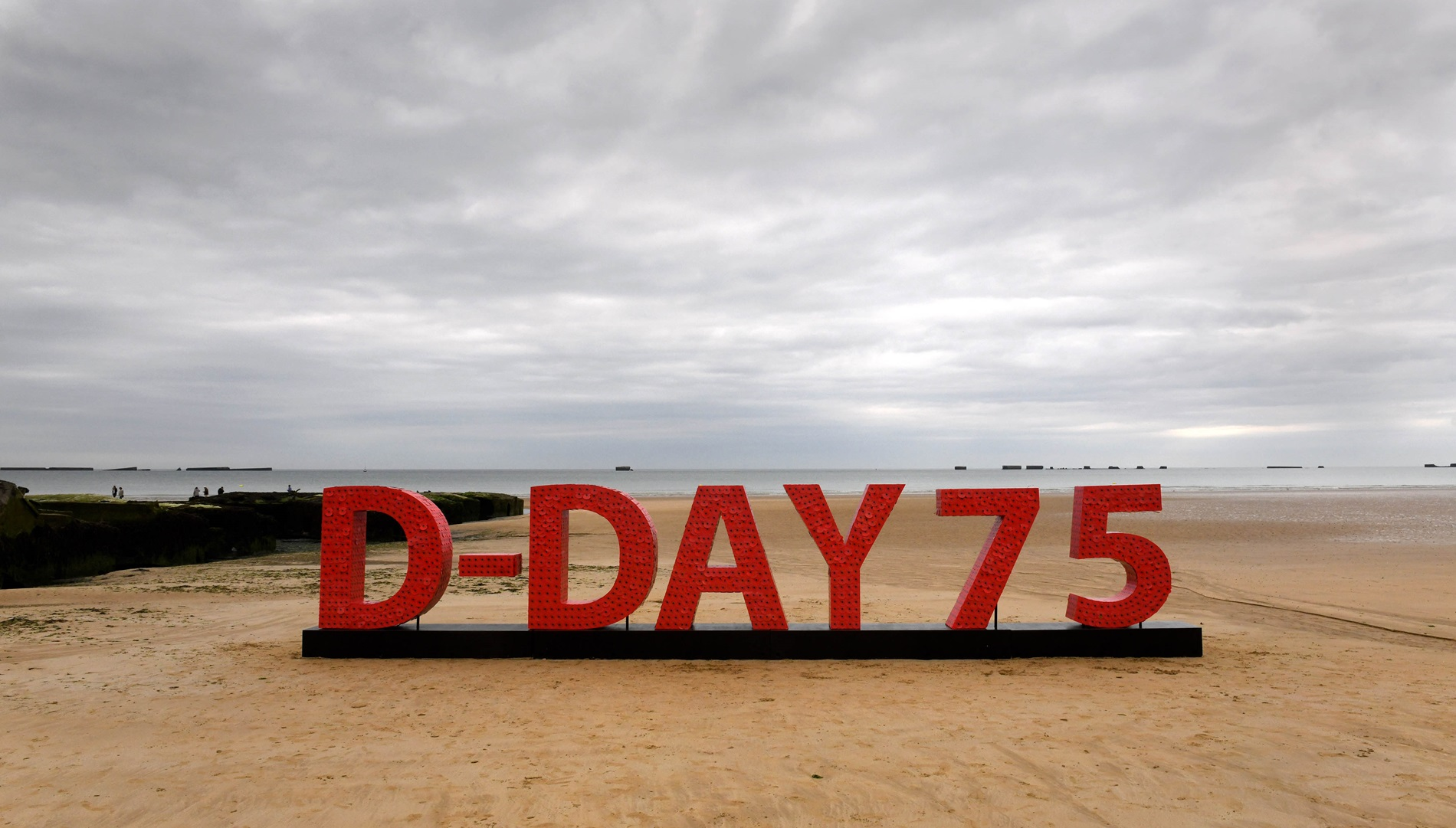D-Day poppy installation on the beaches in Normandy