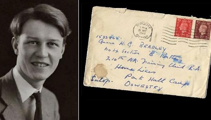 Gilbert Bradley alongside one of his handwritten letters