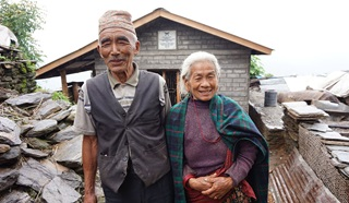 Gurkha veteran Baldhan and his wife Budhini
