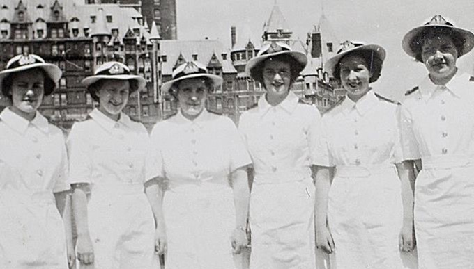 Jane Eldridge with fellow Officers in Quebec