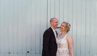 Joe and Megan on their wedding day