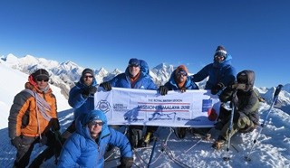 Members of the Mission Himalaya team at the summit of Mera Peak
