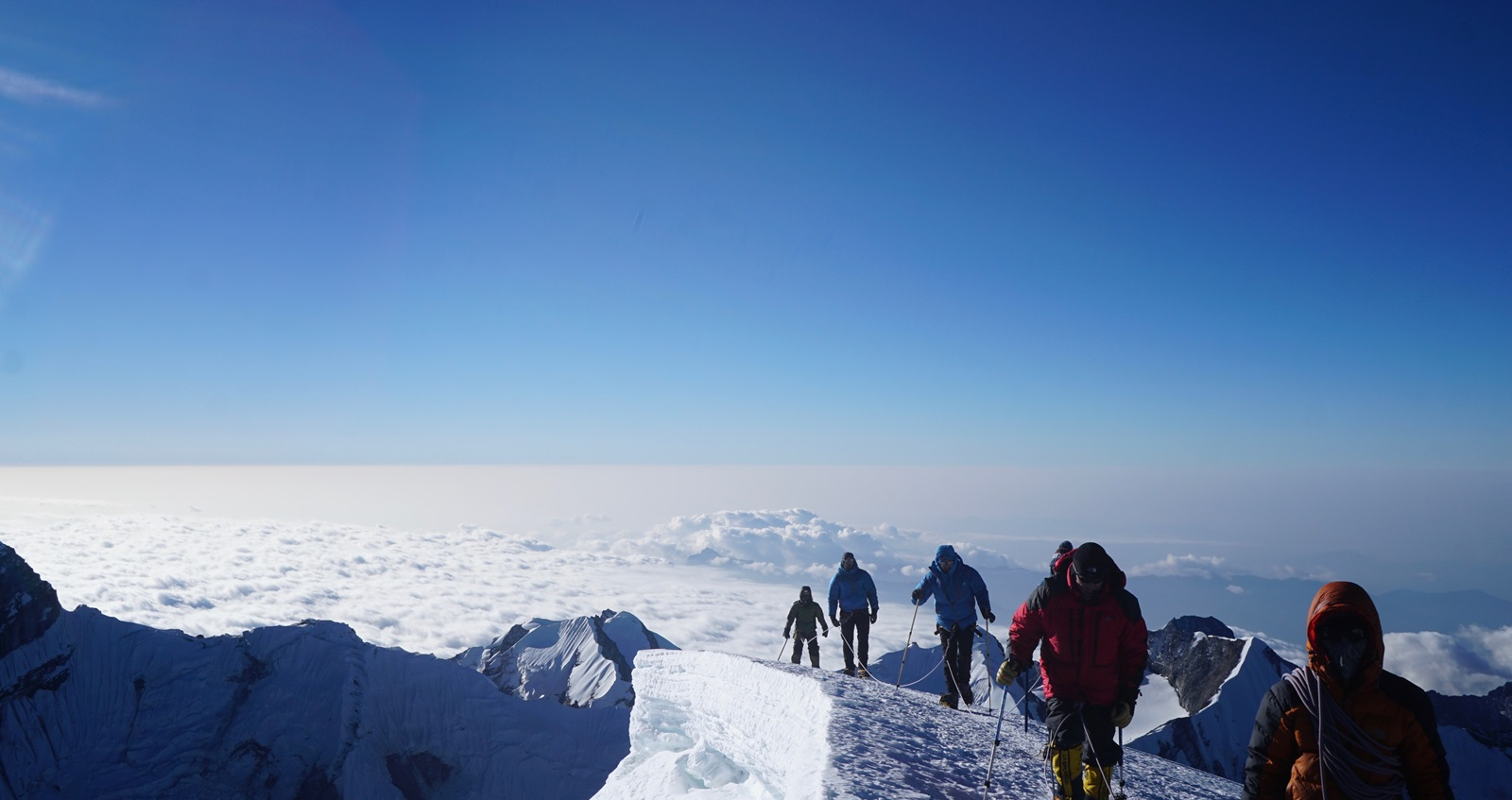 Members of the Mission Himalaya team approaching the summit of Mera Peak