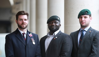 Nick Fleming with fellow veterans who also volunteer for the Legion