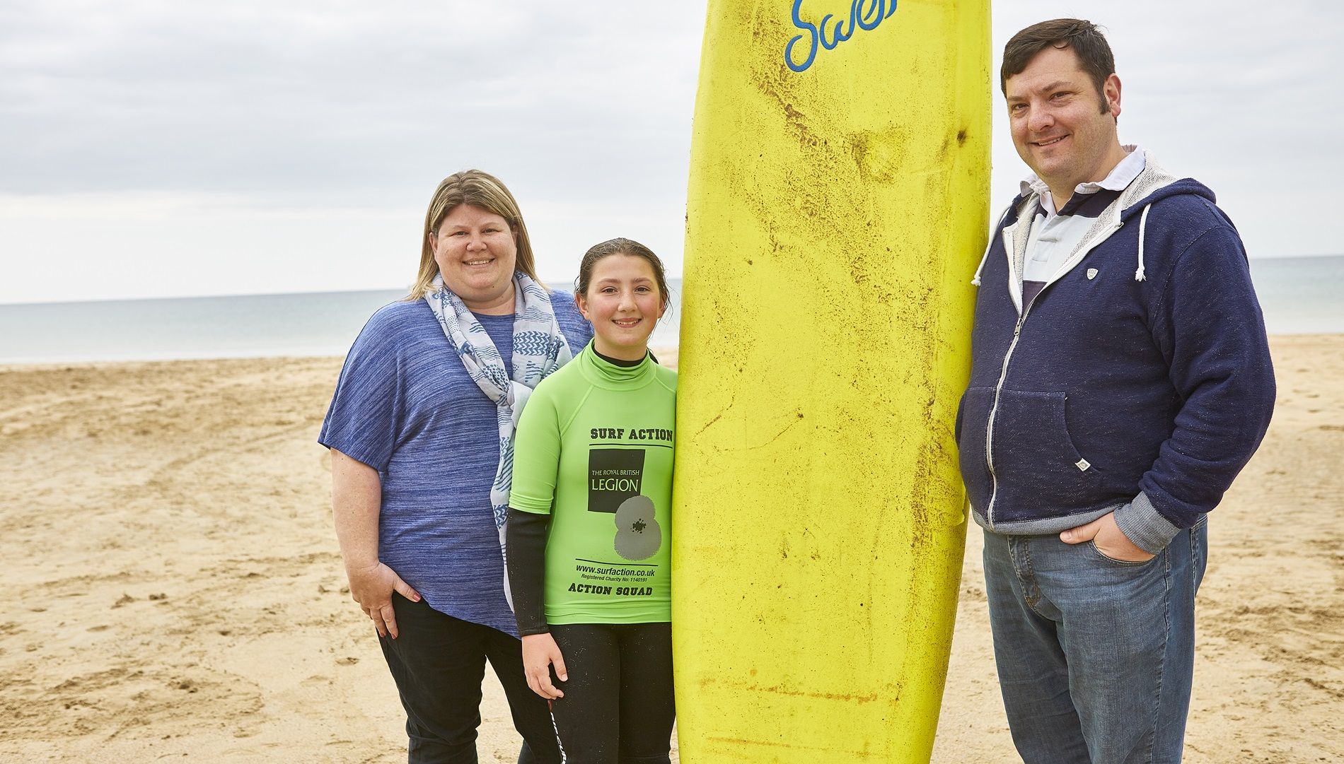A Service family who took part in a surf lesson with Surf Action