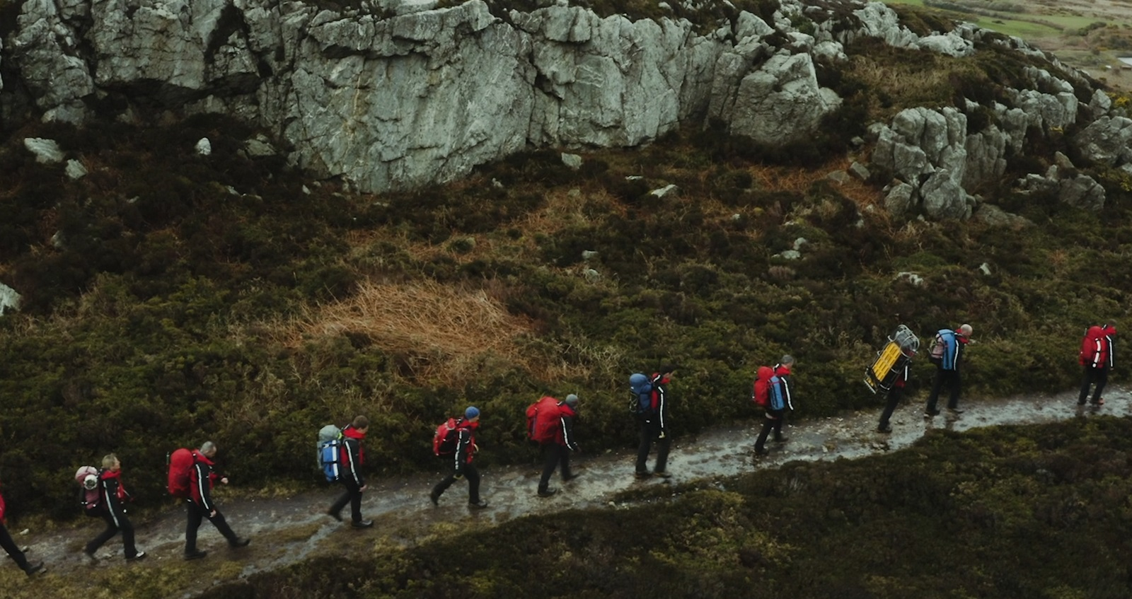 The RAF Valley team walking on a mountain