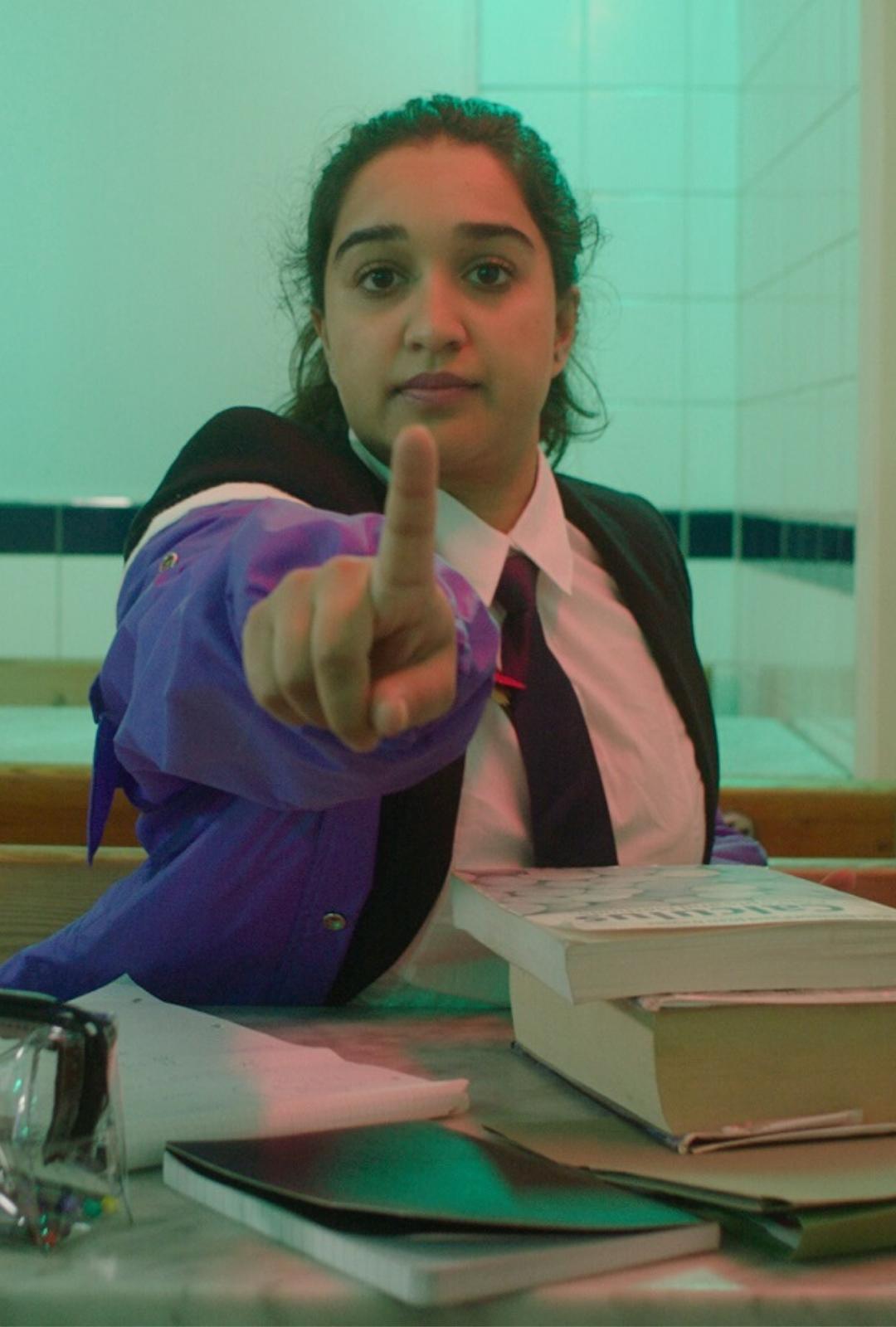 School girl in cafe portrait