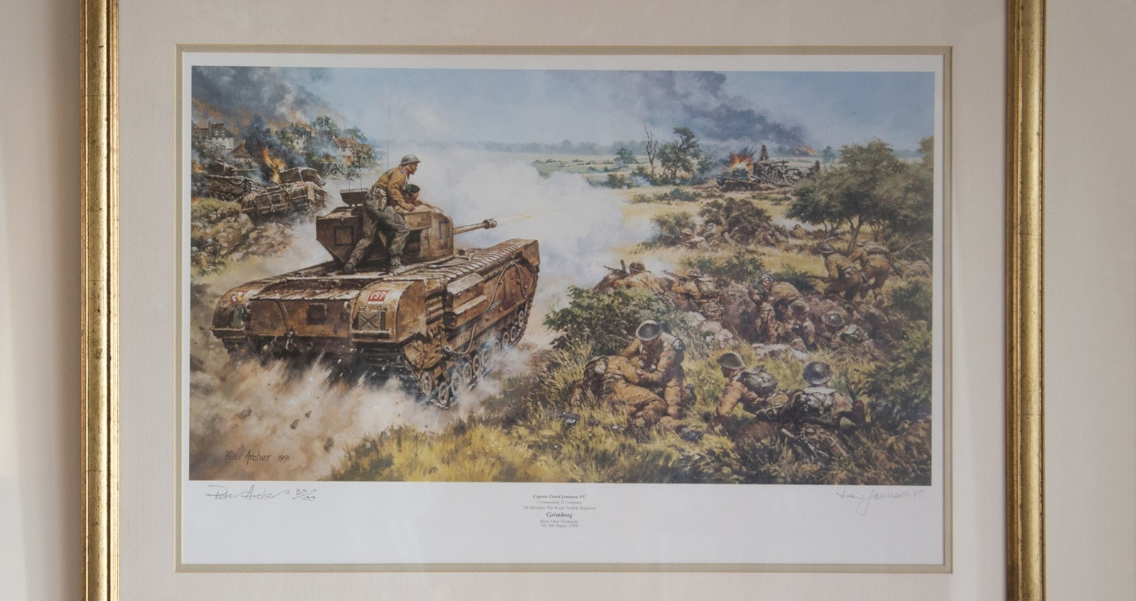 A painting of a tank in Reggie's house