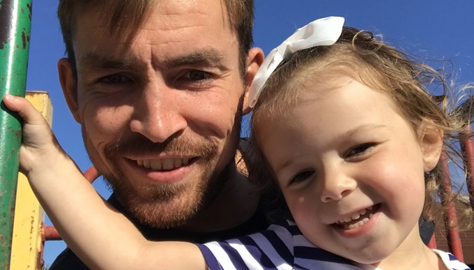 Veteran Andy with his daughter