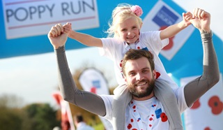 Father and daughter taking part in Poppy Run