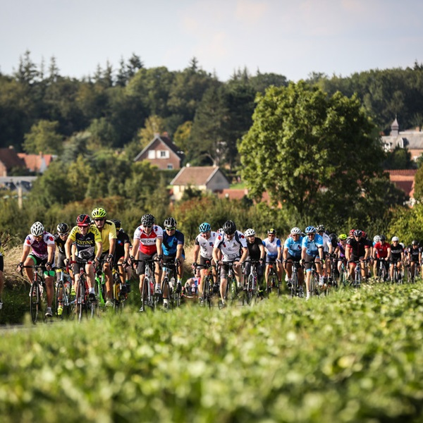 A group of cyclists riding through France