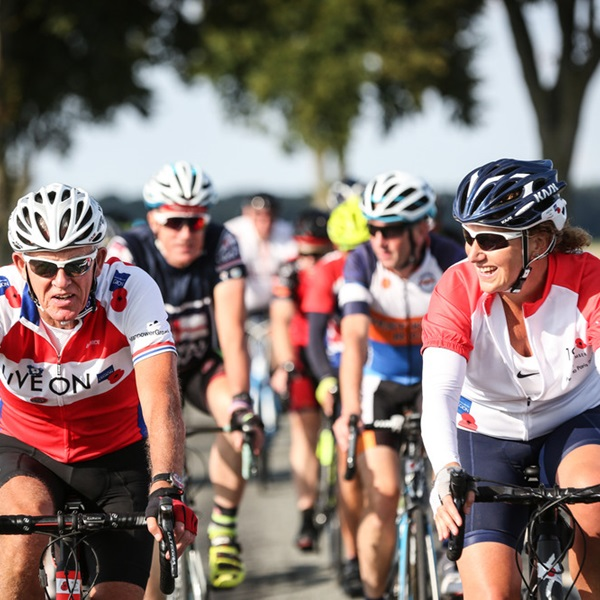 Cyclists taking part in Pedal to Paris