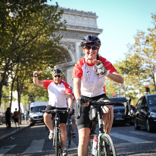 Pedal to Paris cyclist with medal
