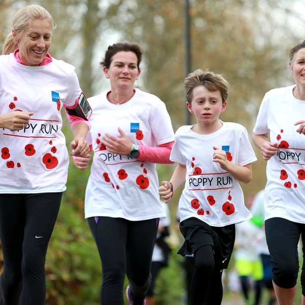 Durham Poppy Run team running