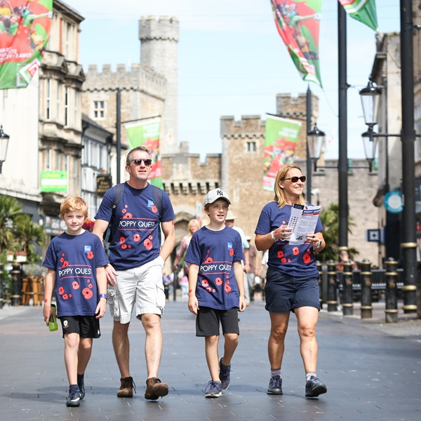 Poppy Quest Cardiff - family of four walking